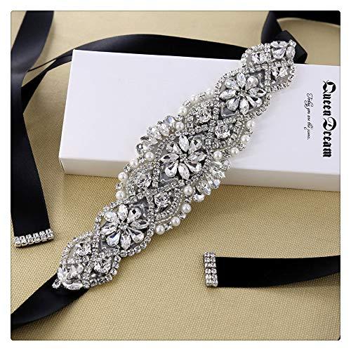 QueenDream Cinturón nupcial Sash Rhinestone con la cinta Negro para la boda y vestido de noche vestido de dama para Mujer 7,5 pulgadas Negro plata
