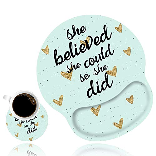 Ergonomic Mouse Pad Wrist Support and Cute Coffee Coaster, She Believed She Could So She Did Inspirational Quote Wrist Rest Mouse Pad with Non-Slip PU Base for Computer Laptop Home Office