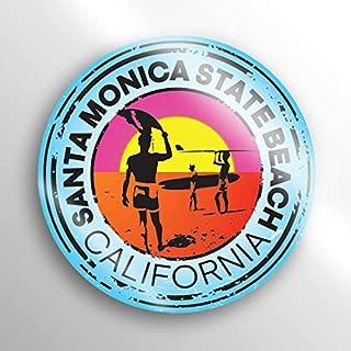 JMM Industries Santa Monica State Beach California Vinyl Decal Sticker Car Window Bumper 2-Pack 3-Inch Round Premium Quality UV Protective Laminate PDS1509