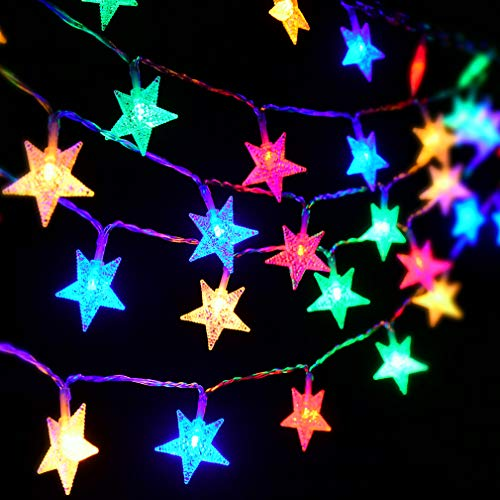 Huacenmy Star String Lights Christmas Tree Ornaments Christmas Tree Topper Decor Lights, 50 LED Battery Powered Multicolor Fairy String Lights, Kids Play Tent Children Room Decorations