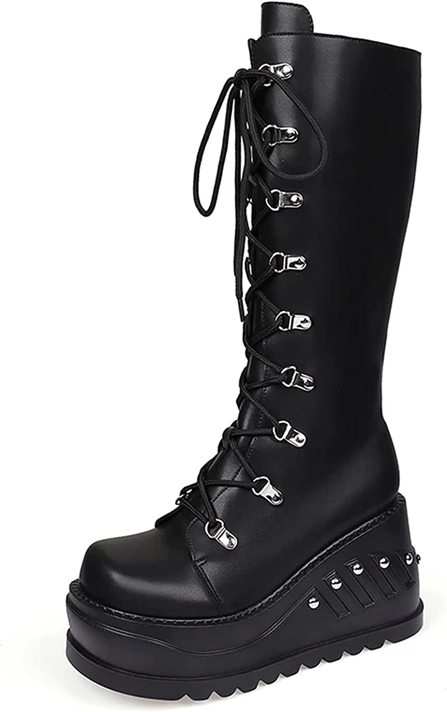 SaraIris Black Platform Boots for Women, Back Zipper Vegan Leather Mid Calf Wedge Boots