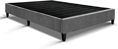 MODAA Solid Pine Wood Slats Double Size Bed Frame with Anti-Slip Floor Protector, Premium Linen Fabric Upholstery Bed Base Fr