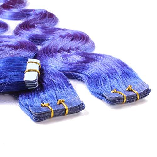 Hair2Heart 10 x 2.5g Extension Biadesive Capelli Veri - 40cm - Ondulato, Colore #blu