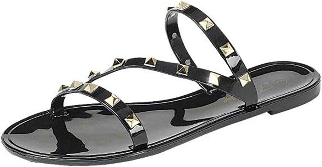 Womens Sandals Studded Jelly Slip On