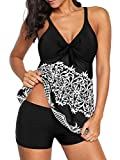 American Trends Women's Two Piece Retro Printed Tankini Swimsuits Tummy Control Swimwear with Boyshorts Bathing Suits (Small US 4-6, White Printed Flower)