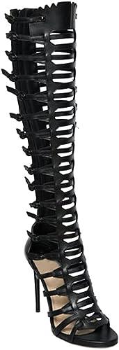 LYY.YY Haut-Top Genou Romain Strappy Bottes Retour Retour Zipper Sandales à Talons Fish Mouth Creux Chaussures Bout Ouvert Talon Fine Chaussure (Hauteur du Talon  11-13Cm)