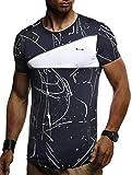 Leif Nelson Camiseta para Hombre con Cuello Redondo LN-920 Azul Large