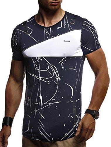 LEIF NELSON Herren Jungen Männer T-Shirt Hoodie Sweatshirt Crew Neck Rundhals Ausschnitt Kurzarm Longsleeve modernes, L, Blau