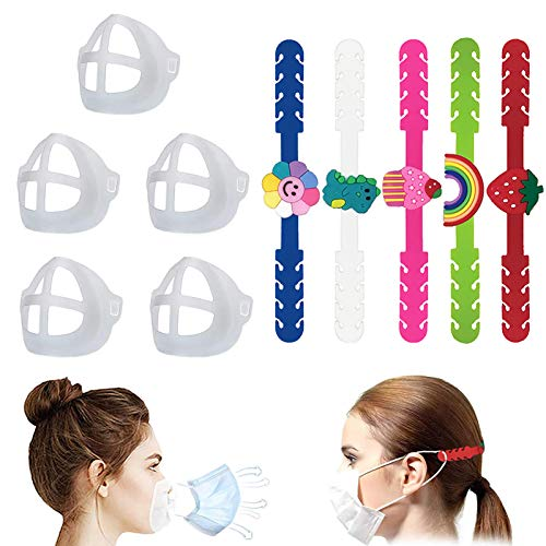 5 Sets Kids Adjustable Mask Strap Extender Mask Bracket Reusable Mask Ear Strap Hook Washable 3D Face Nose Mouth Bracket Mask Inner Support Frame Anti-Slip Ear Strap Accessories