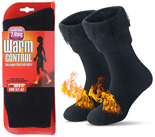 JARSEEN Térmicos de Invierno Calcetines de Lana Super Calor Gruesa Calentar Suave Cómodo Calcetines de Mujer Hombre (Nuevo Negro, L/Hombre 39-45; Mujer 40-45)