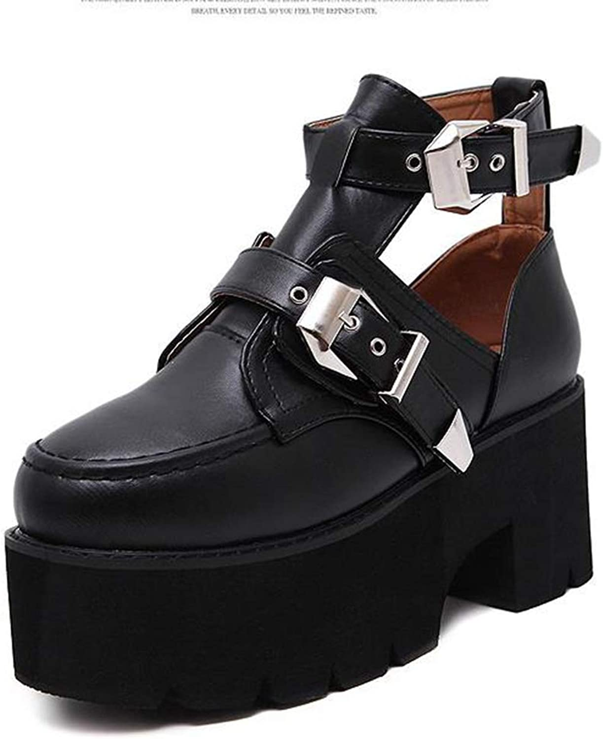 T-JULY Spring Autumn Ankle Boots for Women Fashion Silver Buckle Cut Out Low Heel Gladiator Motorcycle shoes
