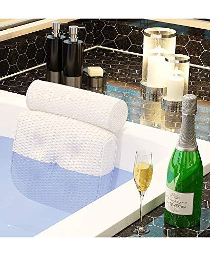 Bath Pillow Spa Bathtub Pillow Ergonomic Bathtub Cushion for Neck, Head & Shoulders, Luxury Bathtub Cushion, 4D Air Mesh for Men and Women, Fits for Jacuzzi, Hot Tub
