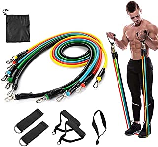 Beisike Fitness Resistance Bands Sets 11pcs, Training Exercise Yoga Tubes Pull Rope Expander Elastic Bands for Home Fitness Workout Yoga Pilates Arms Legs Strength Exercise