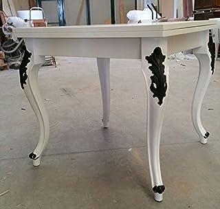 Legno&Design Mesa Cuadrada Extensible Blanco Lacado Patas Fregio Negro