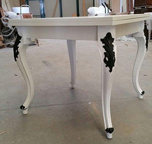 Legno&Design Table carrée extensible, blanc laqué, pieds de frein noir.