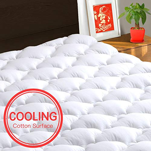 TEXARTIST Mattress Pad Cover King, Cooling Mattress Topper, 400 TC Cotton Pillow Top with 8-21 Inch Deep Pocket