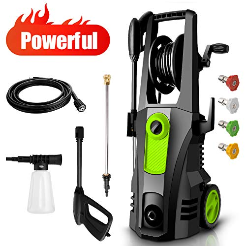 TEANDE 3500PSI Electric Pressure Washer, Car Pressure Washer High Power Washer Cleaner Machine with Hose Reel, 1800W, 2.6GPM, 4 Nozzles for Patio Garden Yard Vehicle (Green)