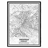 Bielefeld Deutschland Karte Wandkunst Leinwand drucken