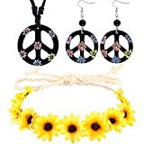 3 Pieces Hippie Costume Accessories Boho Set includes Peace Sign Necklace, Flower Crown Headband and Earrings 60s 70s Dressing Accessory for Women Men