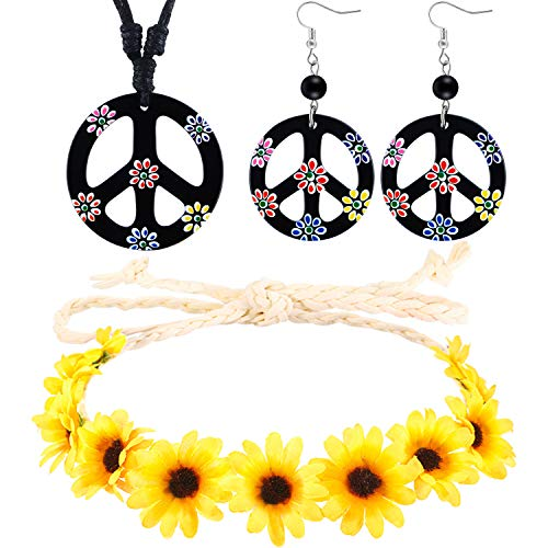 3 Pieces Hippie Costume Set, Includes Flower Crown Headband, Peace Sign Necklace and Peace Sign Earrings 60s 70s Dressing Accessory for Women Men