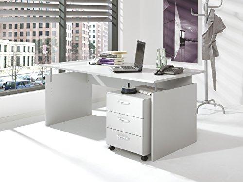 Aktionsbüro, Wangenschreibtisch,160 cm + Container, Office-grau, ohne Montage