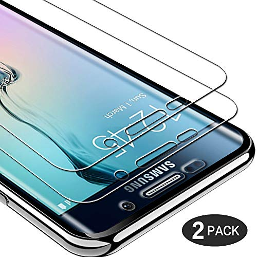 Casecool [2 Stück] Panzerglas Schutzfolie für Samsung Galaxy S6 Edge, Frei von Kratzern Fingabdrücken Anti-Öl Transparent Schutzglas 9H Härte, 0.33mm