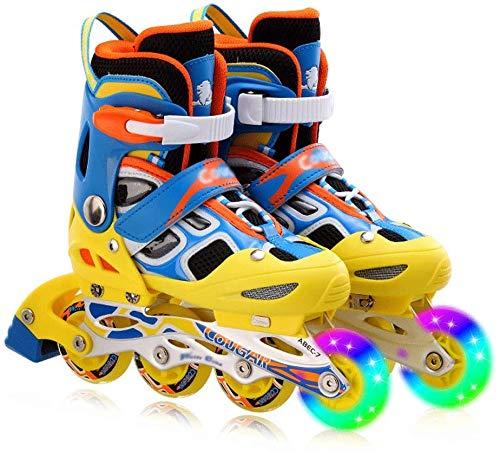 KMILE Patines en línea Niños para niños Patines de Rodillos Patines Roller Blades ABEC 7 Patines en línea para niños de Carbono Zapato Ajustable (Size : 37-41EU)