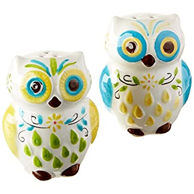 Floral Owl Salt & Pepper Shakers, Hand-painted Ceramic by Boston Warehouse