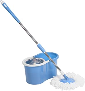 360° Super Spin Mop Bucket Stainless Steel Free 2 Mop Head Microfibre (Blue)