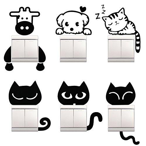 Almondcy - Pegatinas de pared para interruptor de luz, 6 unidades, diseño de gatos negros y otros animales para decoración de la habitación del hogar