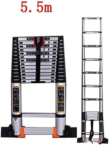 HAMIMI échelle télescopique à Usage Domestique en Bambou d'ingénierie intérieure Repliable à Section de Bambou en Alliage d'aluminium à échelle rectiligne escabeau échelle (Taille   5.5m)