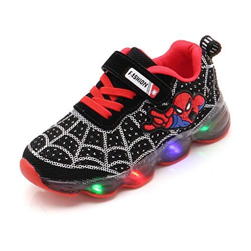 YEMAO Spiderman Kinder Kleinkind Light Up Laufschuhe LED-Turnschuhe,Black-27 EU