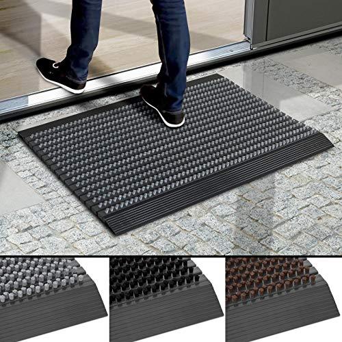 Floordirekt Fußmatte Power Brush - Testurteil Sehr Gut - Schmutzfangmatte mit Alu Rahmen für außen und innen - viele Farben & Größen (Grau, 40 x 60 cm)
