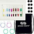 Knitter's Pride Knitting Needles SmartStix Smart Deluxe Interchangeable Needles Set Sizes US 4 (3.5mm) to US 11 (8mm) Bundle with 1 Artsiga Crafts Project Bag