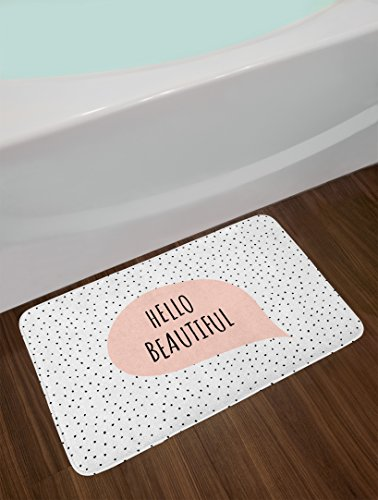 Ambesonne Hello Bath Mat, Romantic and Motivational Message in a Pastel Colored Speech Balloon Hand Drawn Dots, Plush Bathroom Decor Mat with Non Slip Backing, 29.5
