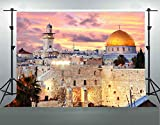 Jerusalem Cityscape Backgrounds for Photography, 7x5ft Soft Fabric No Wrinkle, Sunset Dome of The Rock Cityscape Backdrop, Party Room Decor Banner, YouTube Photo Shooting Props DSFS019