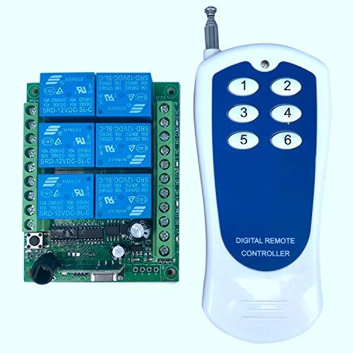 CUHAWUDBA 12V Interruptor de Control Remoto Inalámbrico de 6 Canales RF y Transmisor del Receptor del Sistema de Control Remoto 315/433 6Ch Relay