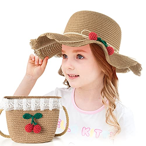Czemo Mädchen Stroh Sonnenhut Mit Strandtasche mit Blumendekoration Süß Baby Blumen Mütze Set Outdoor-Aktivitäten Sommer Fit für 3-7 Jahre Kinder (Kaffee)