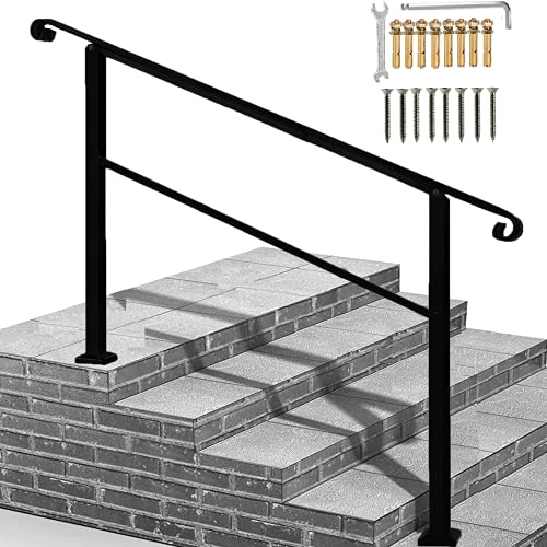 Metty Metal Handrails for Outdoor Steps 2 Step Handrail,Wall/&Floor Mounted Wrought Iron Handrails Stair Rail with Installation Kit Hand Rail for Outdoors Steps