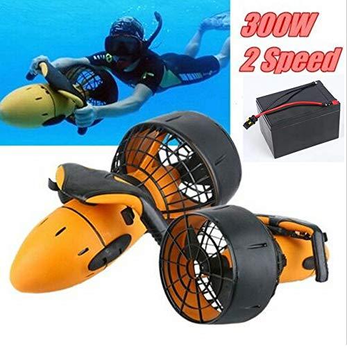 Scooter eléctrico de Buceo de mar de 300 vatios, Scooter de Buceo Submarino Impermeable bajo el Agua, Hélice subacuática de Doble Velocidad Buceo Piscina Scooter Extractor de Deportes acuáticos