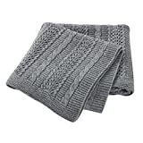 Hadetoto Baby Blanket Cable Knit Toddler Blankets Soft Knitted Blankets for Boys and Girls Grey