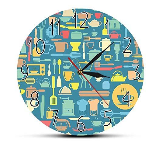 Dfert Reloj De Pared Impresiones De Arte Moderno Reloj De Pared De Cocina Utensilios De Cocina Reloj De Pared Inspirado En El Cocinero Silencioso Sin Tictac Reloj De Pared Relojes De Comedor-Sin Marco