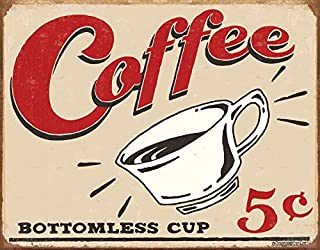 "Desperate Enterprises Schonberg – Coffee 5 Cents Tin Sign, 16"" W x 12.5"" H"
