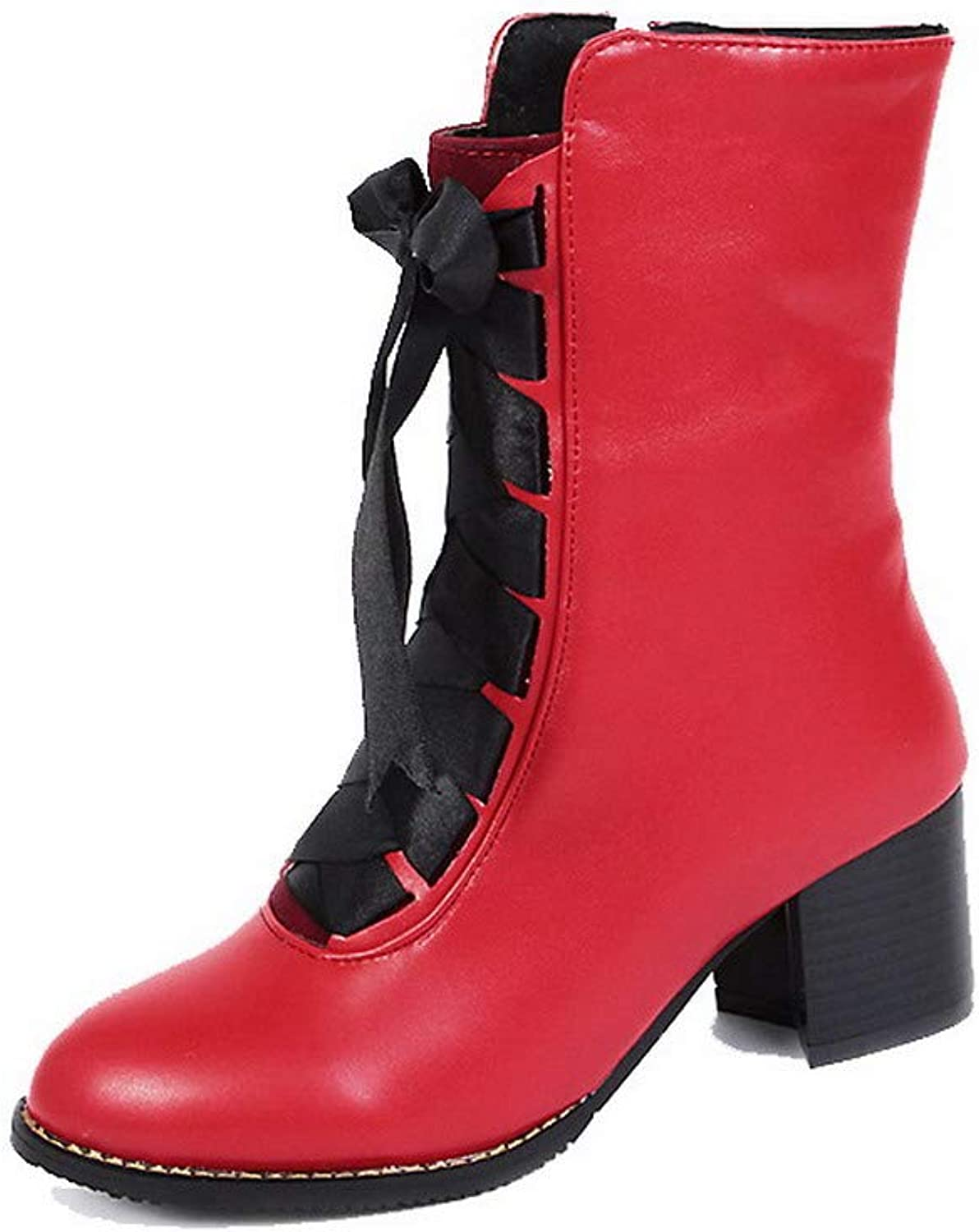 AllhqFashion Women's Solid Pu Kitten-Heels Zipper Round-Toe Boots, FBUXD126511