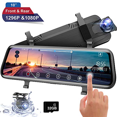 Moucit Dual Dash Cam, Dash Cam for Car, 10' FHD IPS Touch Screen Mirror Dash Cam 170° 1296P Front and 150°1080P Rear View Camera Dual Lens with G-Sensor Night Vision Parking Monitor Free 32GB SD Card