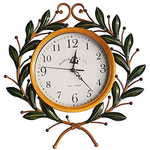 NOSSON Schlafzimmer WeckerWanduhr Europa Und Amerika Kreative LäNdlichen Stil Dekoration Olivenzweig Form Uhr, Glasspiegel, Stille Bewegung, GrößE: 45 * 45 × 6 cm.