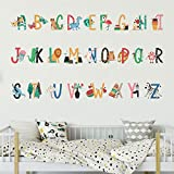Animal Alphabet Kids Wall Stickers Creative Cartoon ABC Letters Wall Decals, LASZOLA Bright and Colourful Removable Nursery Decor Art Murals Paper Decoration for Bedroom Living Room