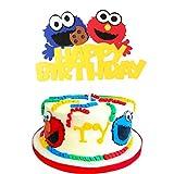 PANTIDE Sesame Inspired Birthday Cake Topper, Happy Birthday Sesame Cake Topper Party Decoration Party Supplies Elmo Cake Topper Cookie Monster Cake Decoration Supplies for Boys and Girls