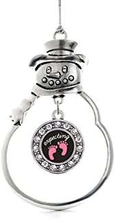Inspired Silver - Expecting A Girl Footprints Charm Ornament - Silver Circle Charm Snowman Ornament with Cubic Zirconia Jewelry