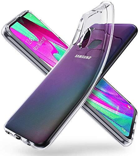 KOMBI Carcasa compatible Samsung A40 transparente antigolpes silicona TPU líquido antiarañazos protector, funda transparente Samsung A40 compatible con pantalla 5,9